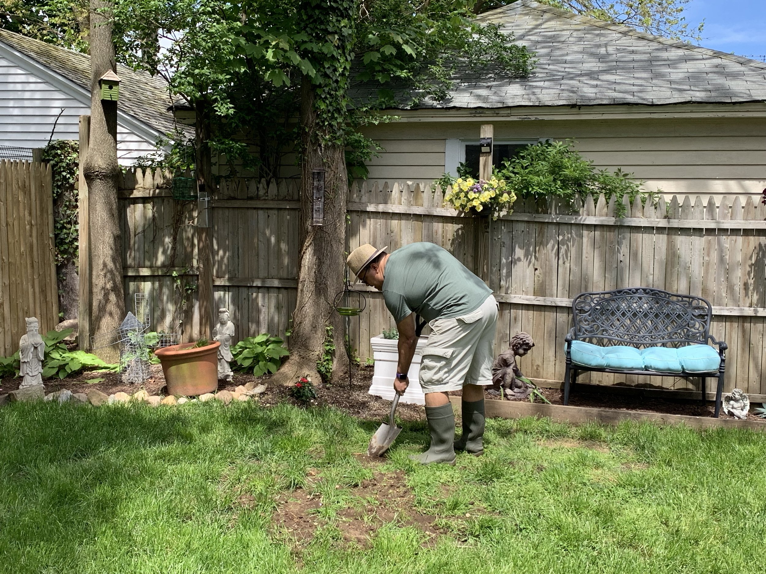 Bending the back while transplanting grass.