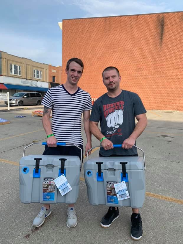 Champions of the TBF CornHole Tournament coming up thru the losers bracket to win!  Congratulations  to Matthew Bezy and Corey White!! — attending  Wine and Brew Festival Washington IN  at  Daviess County Chamber of Commerce and Visitors Bureau .