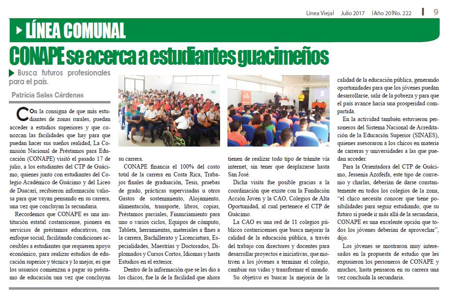 Fuente: Periódico Línea Vieja, Fundado en 1997.Julio 2017. Año 20 No. 222 - Guácimo, Siquirres, Pococí, Matina