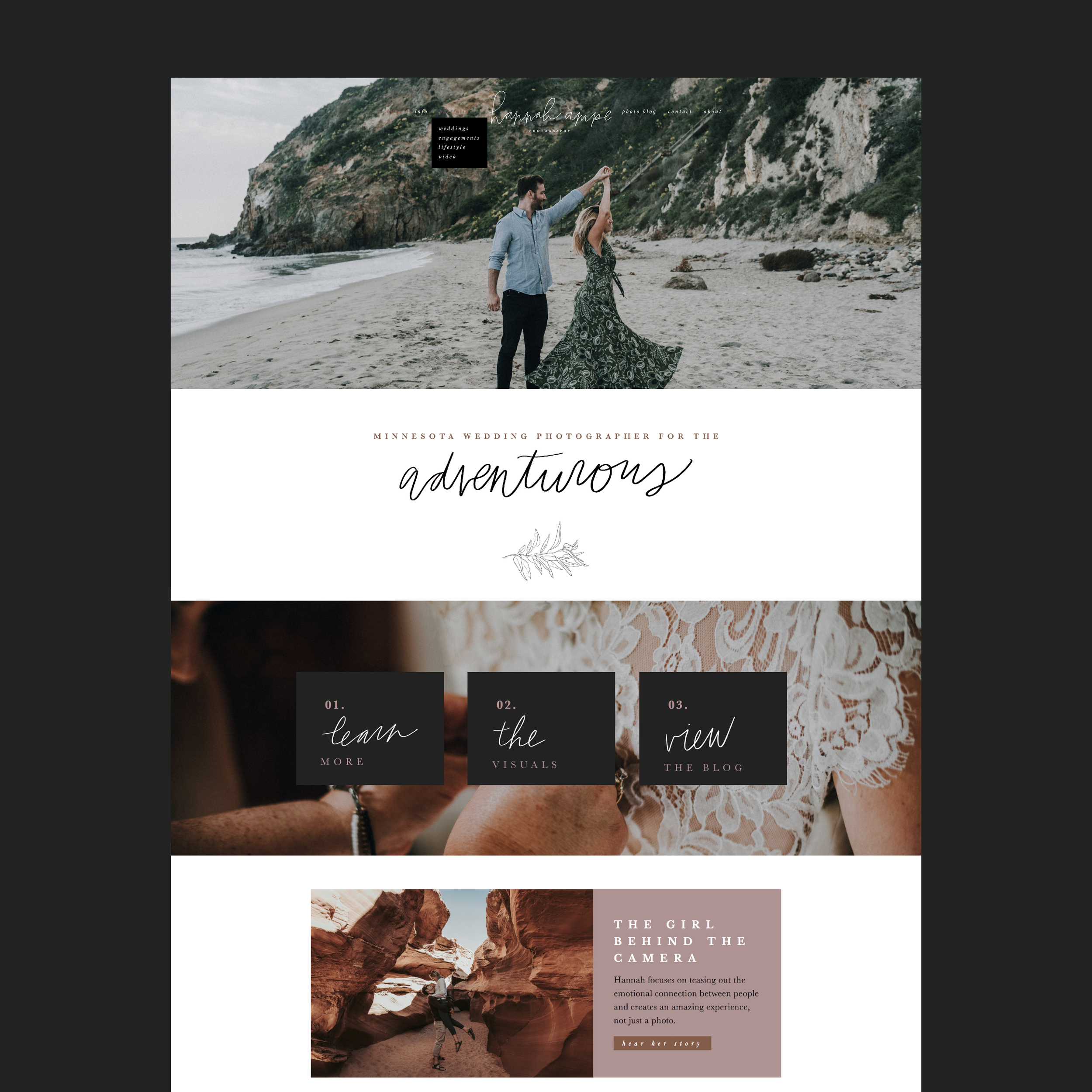 hannah+ampe+website+design+web+designer+adventurous+script+loose+whimsical+neutral+photography+black+home+page+weddingphotographer