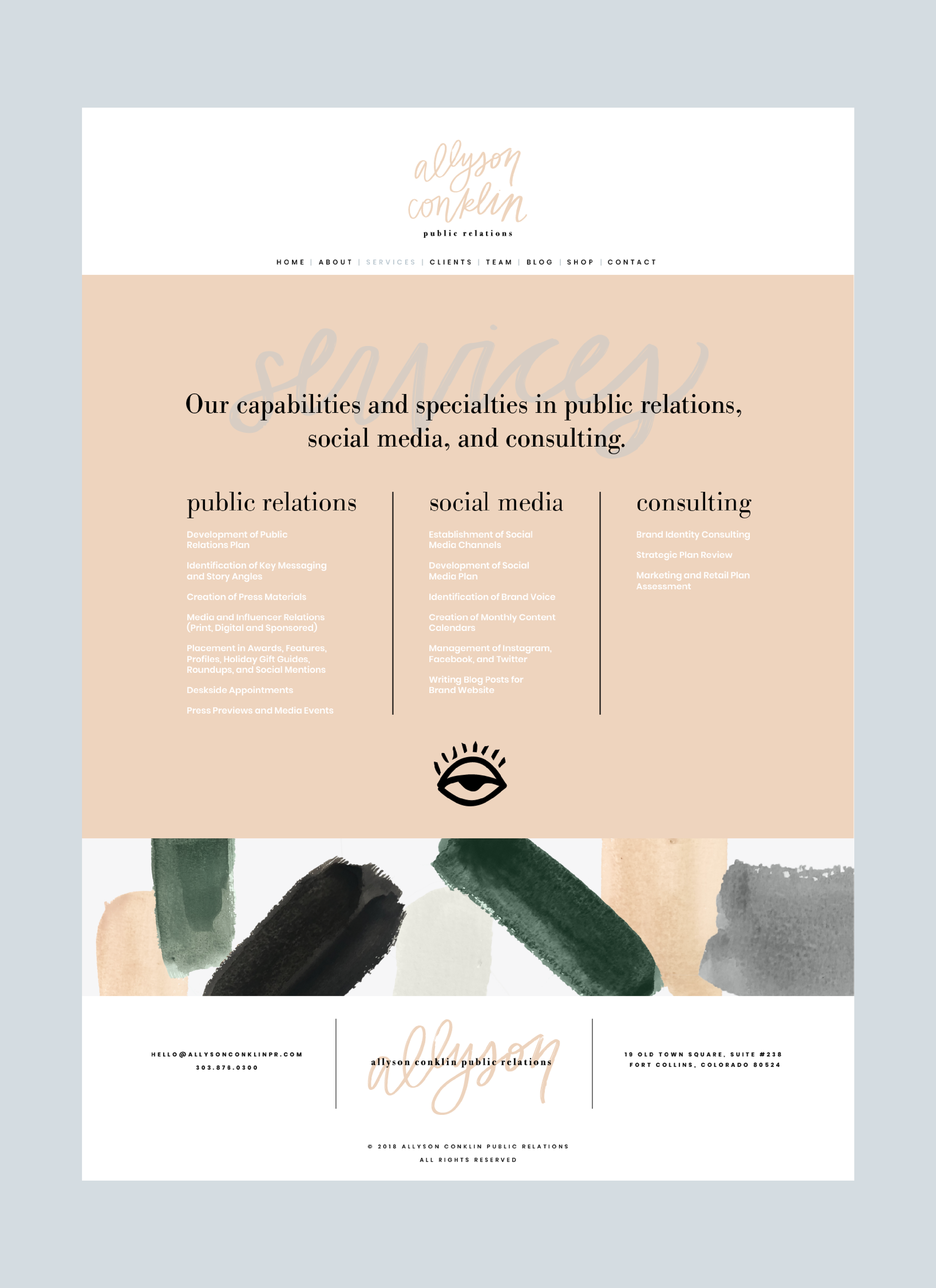 allyson+conklin+public+relations+website+homepage+wordpress+webdesign+paint+pattern+typography+brush+script+serif+sansserif+nude+green+grey+black+site+branding+logo+feminine+hand-lettering+solid+color+eclectic+stylish+sophisticated+services+page