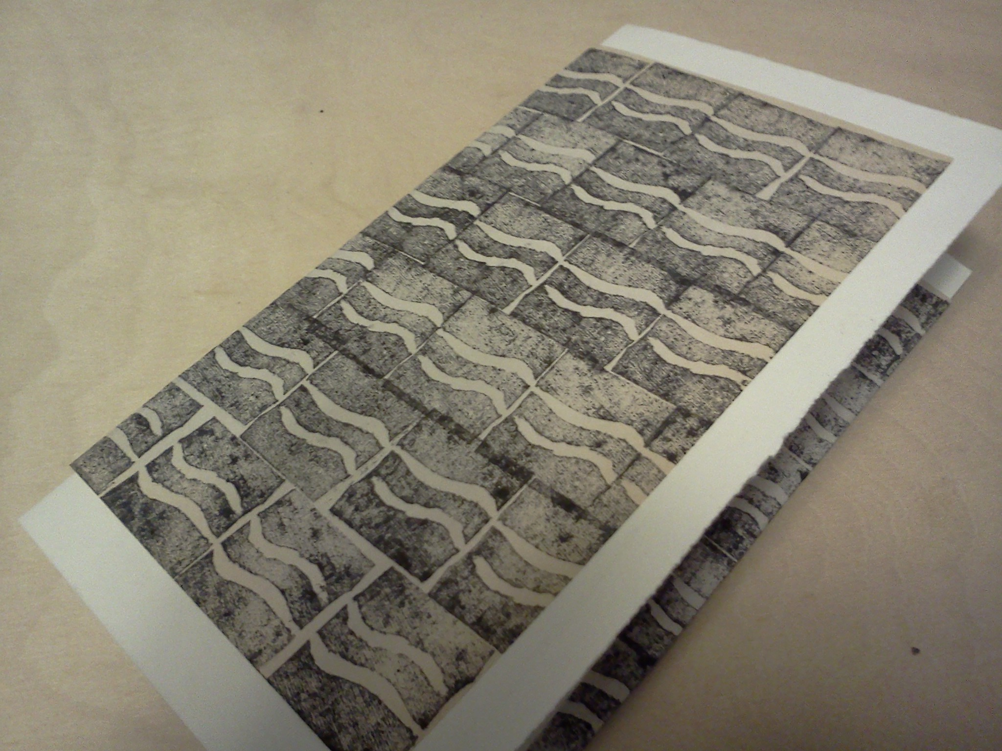 The wavy lines are made from a stamp I carved out of an eraser.