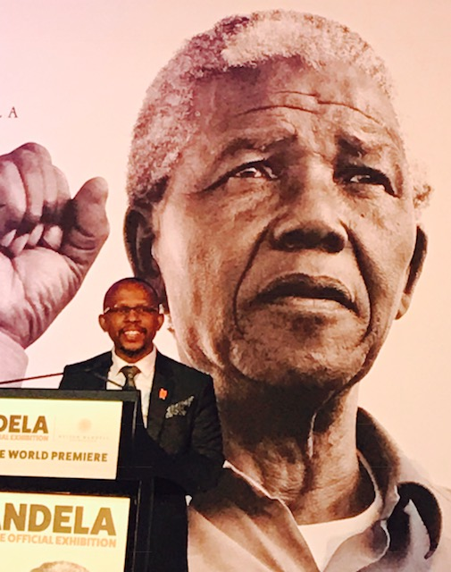 Sello Hatang, CEO Nelson Mandela Foundation, speaks at the opening of Mandela, My Life exhibition, Melbourne Museum.
