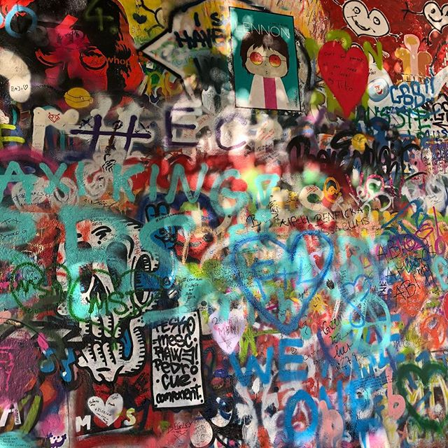 """You have to love this John Lennon Wall, created by the people of Prague during the occupation of Communism. John Lennon never visited Prague however the power of his words in songs like Imagine started this wall as a place for the people to write their frustration: """"You may say I am a dreamer but I am not the only one I hope one day you will join us, And the world will be as one...."""""""