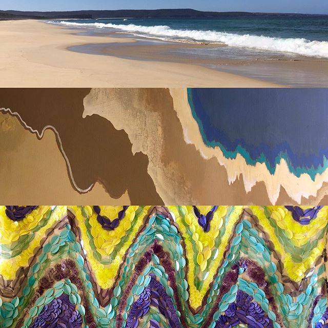 You can see here the 1st beach scene, inspires the painting and then the painting inspires the fabric