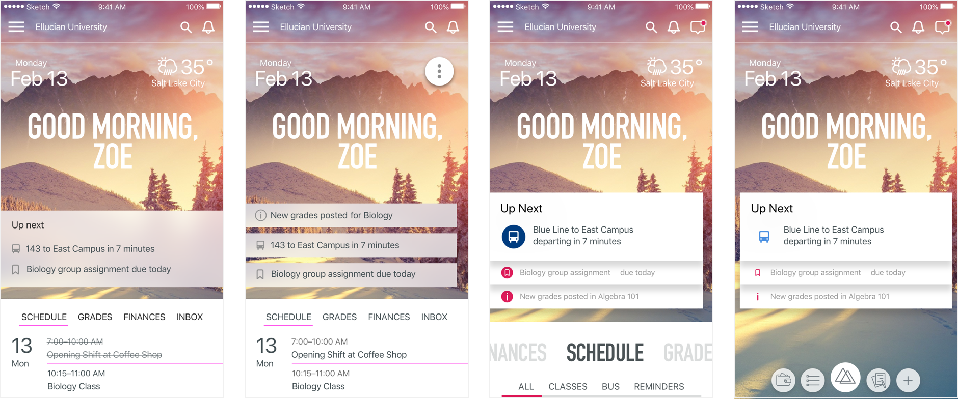 Several different iterations of the home screen.