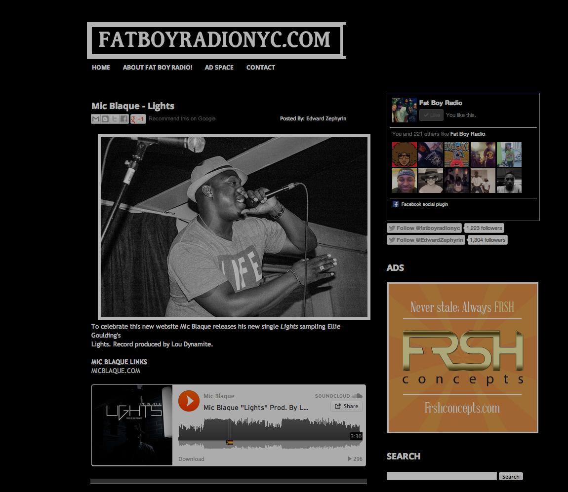 Featured on Fat Boy Radio NYC.