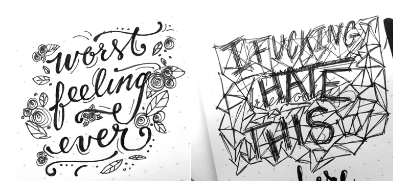 "10.16.14   Two letterings for today, brought to you by ""so many feelings."" Don't worry, it got better :)"
