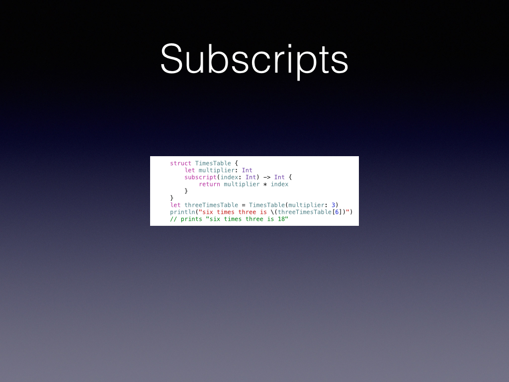 We oftentimes program our own collection objects. If you know how these objects should be described as if in a list then use Subscripts.        This can lead to great weirdness if you are not careful, but also great clarity to you the developer.