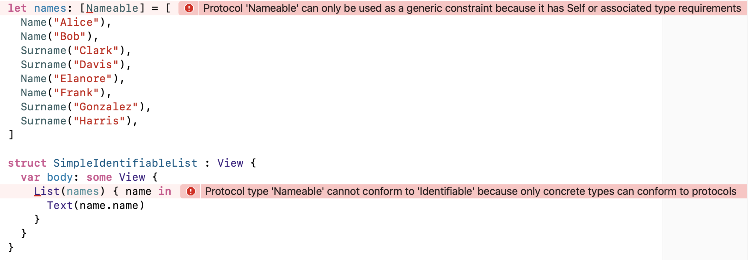Here we can see that we have two compiler warnings complaining about the same issue in different ways