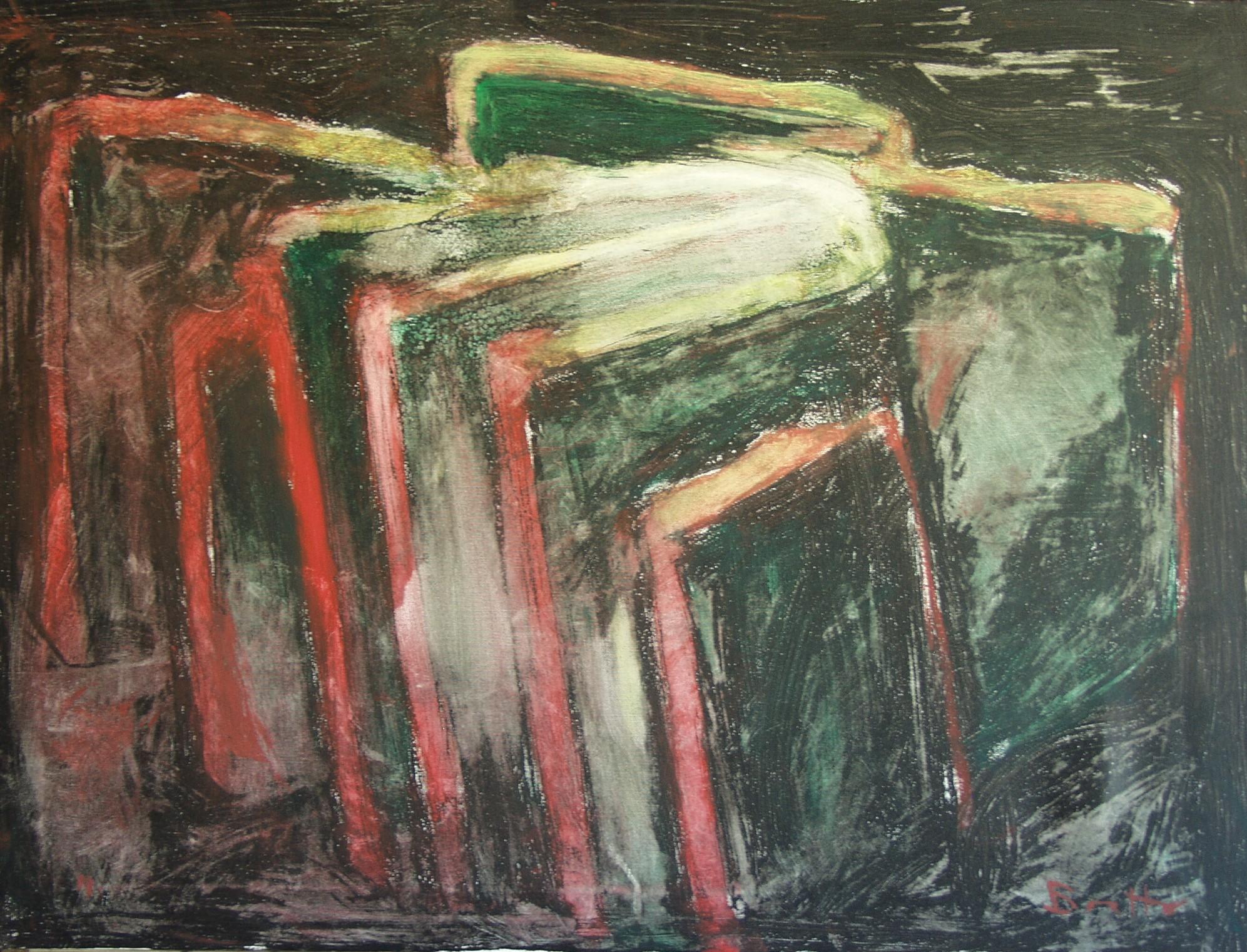 "Amorfo nuovo</br><div class=""grey"">cm 60x80, tecnica mista su tela, 2010</div>"