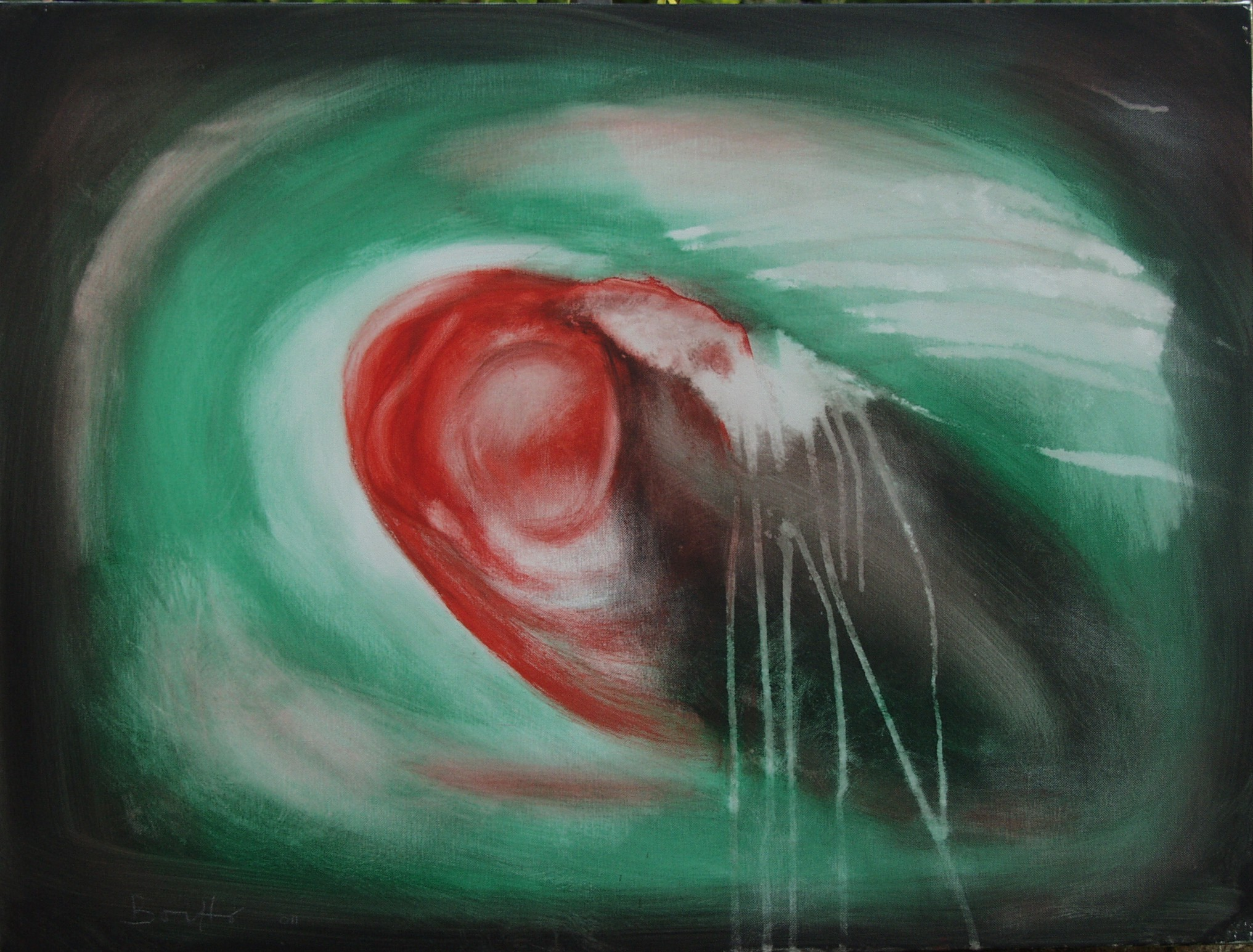 "Amorfo Pulsante 3</br><div class=""grey"">cm 60x80, tecnica mista su tela, 2010</div>"