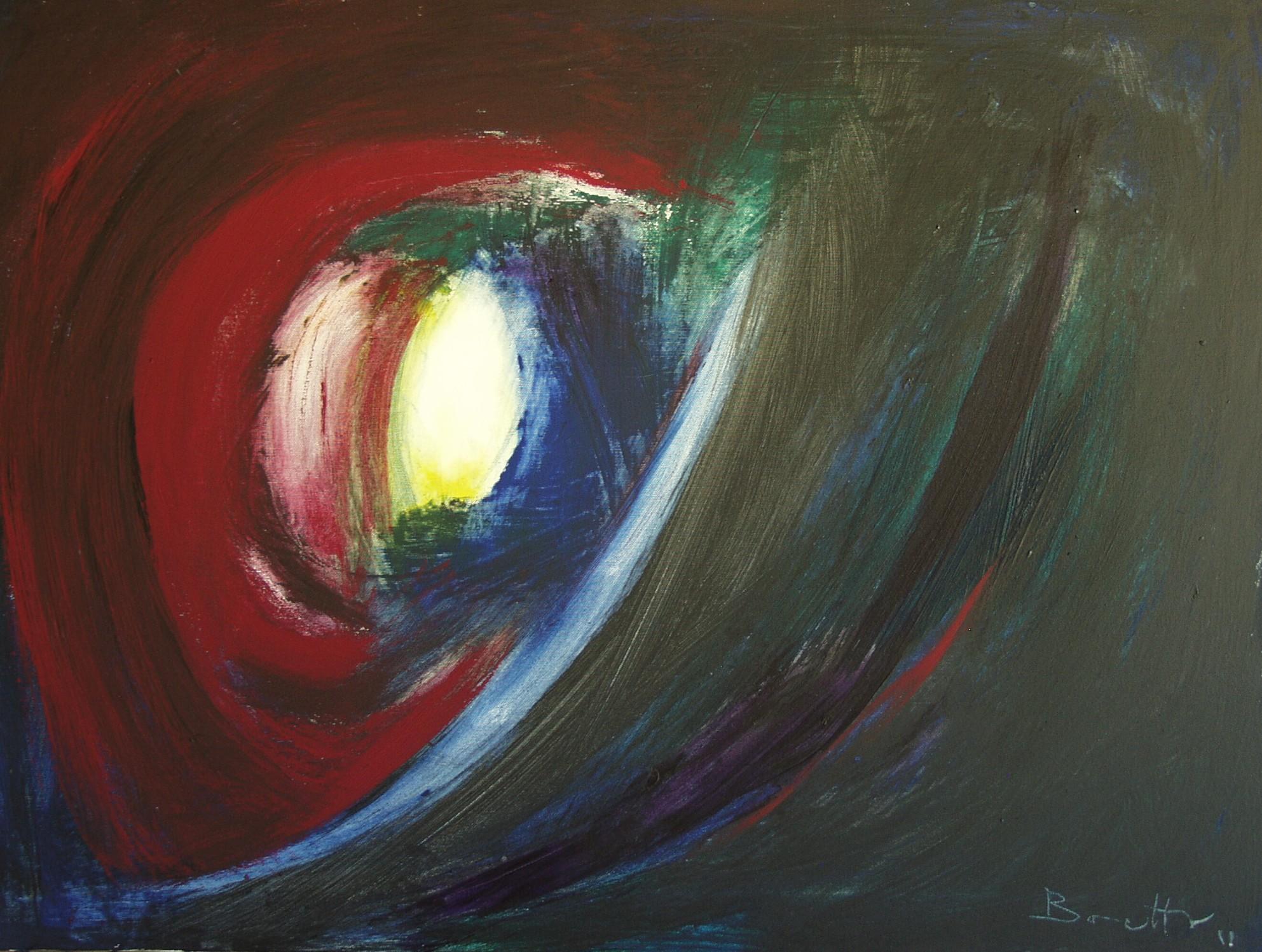 "Meteora rossa</br><div class=""grey"">cm 60x80, tecnica mista su tela, 2011</div>"