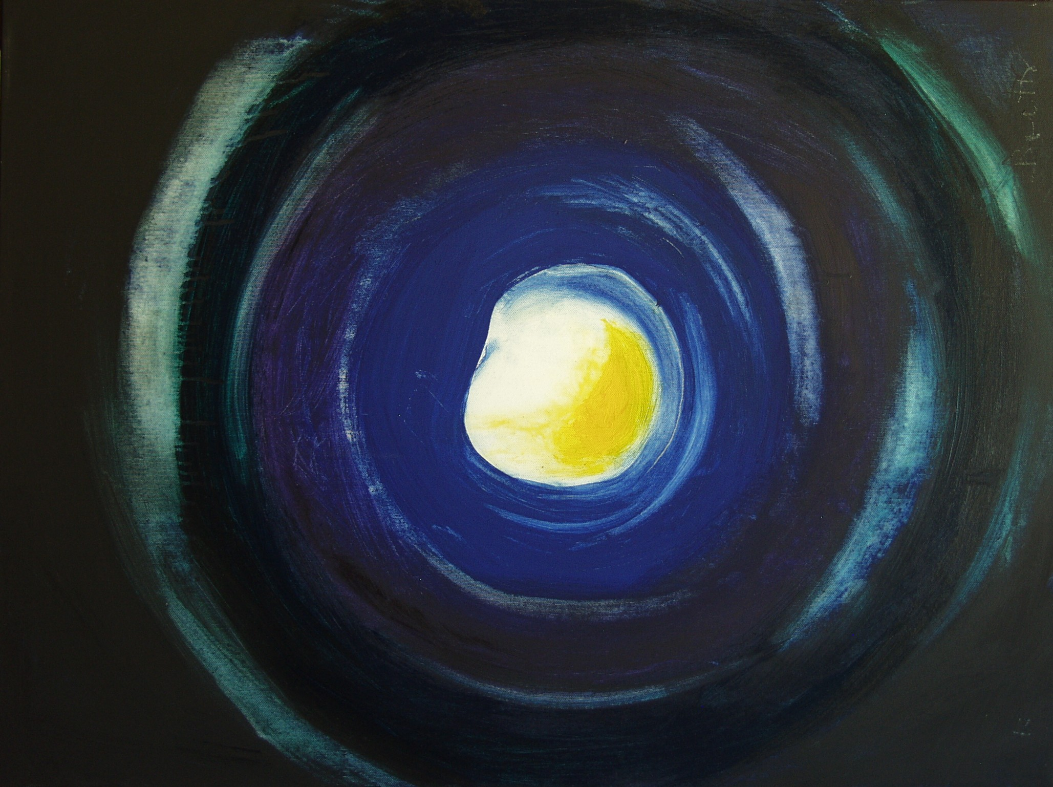 """Il buco bianco</br><div class=""""grey"""">cm 60x80, tecnica mista su tela, 2011</div>"""