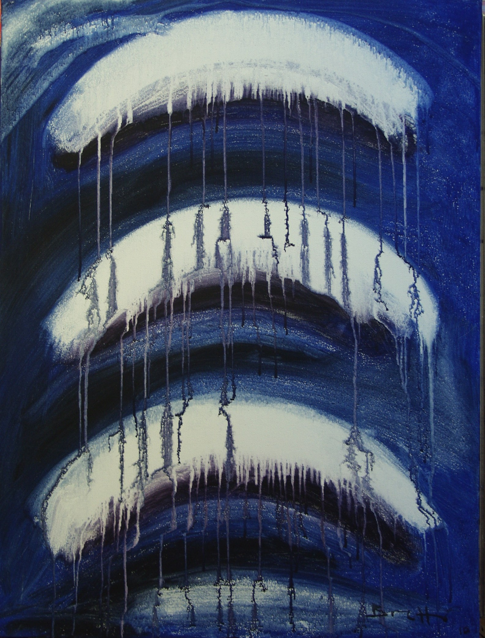 "Meteora blu</br><div class=""grey"">cm 60x80, tecnica mista su tela, 2010</div>"