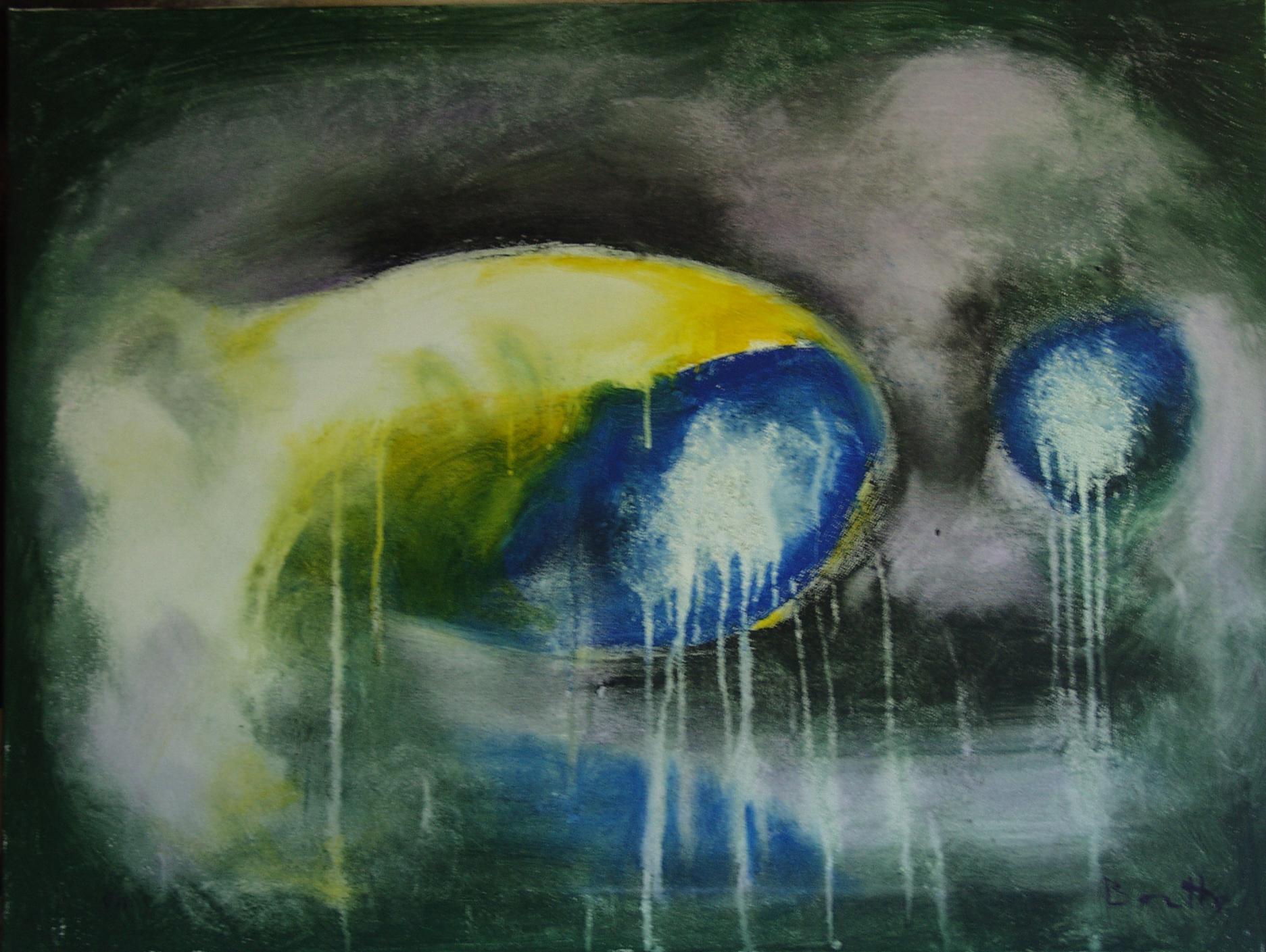 """Forme in decomposizione</br><div class=""""grey"""">cm 60x80, tecnica mista su tela, 2011</div>"""