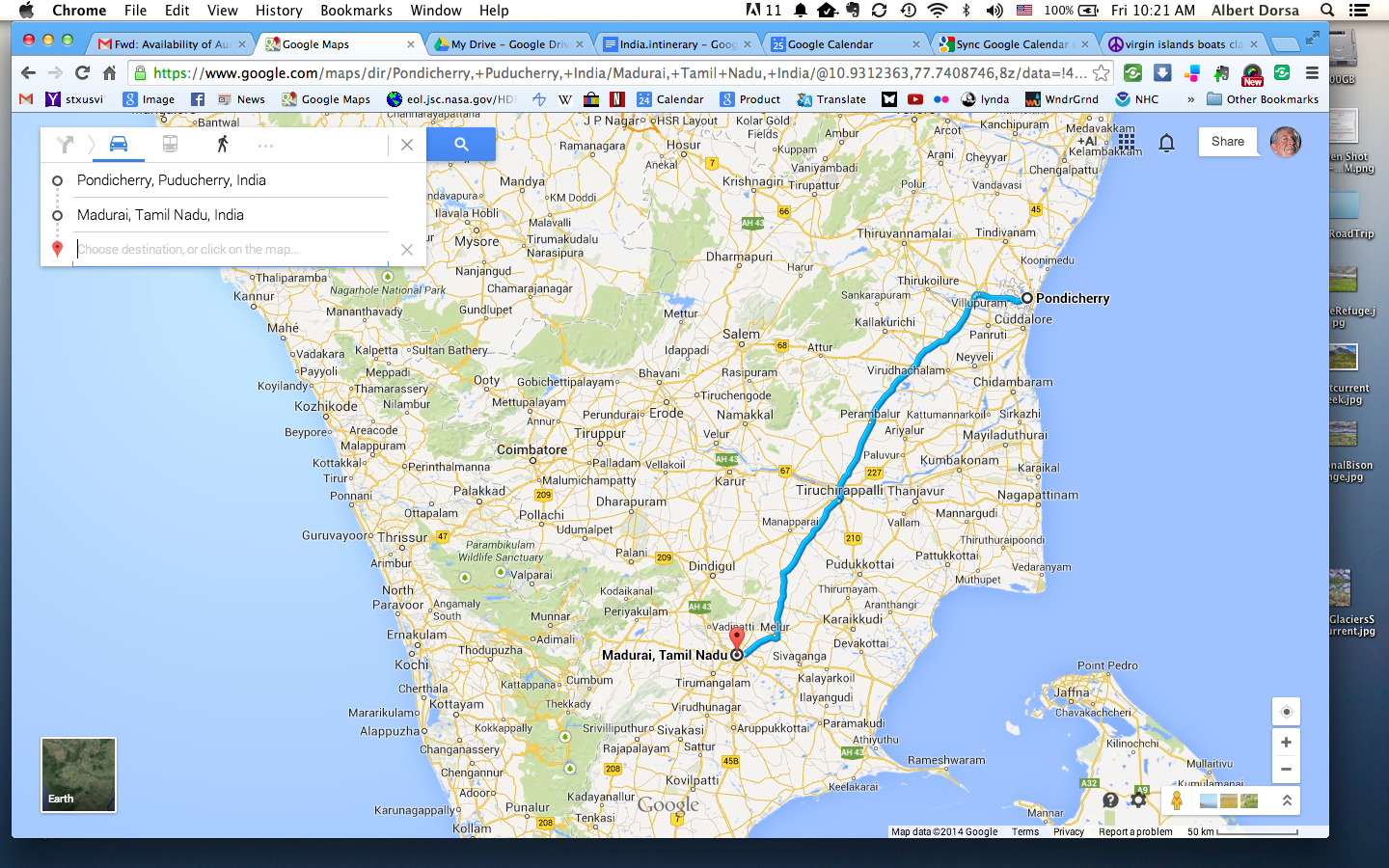 Screenshot of Google maps showing the route from Puducherry to Madurai. About 4:45 hrs driving time.