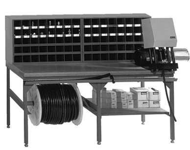 Package C includes:    Qty 1 - TH7-5 / 6' Table with any shelf/reel combination    Qty 1 - TH7-5-HT / 6' Measuring Hose Trough    Qty 2 - TH7-40B / 40 Bin Cabinet