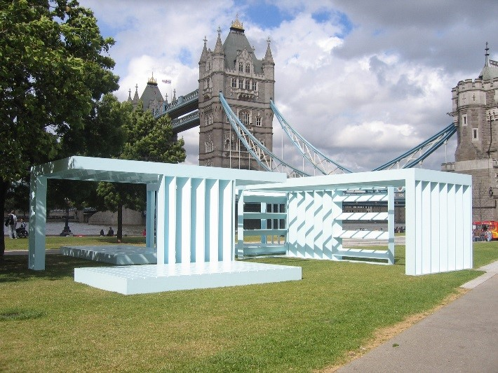 Toby Paterson, Powder Blue Orthogonal Pavilion, 2008. Courtesy the artist and The Modern Institute and Toby Webster Ltd, Glasgow. Photo Richard Green.