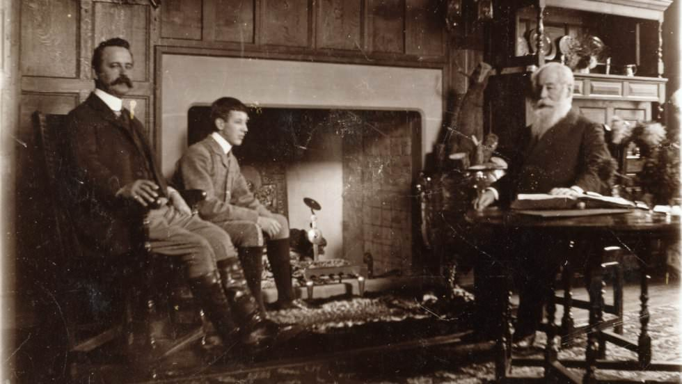 Joseph, Alfred and Baron Ash at Packwood c.1905  . Image: National Trust images
