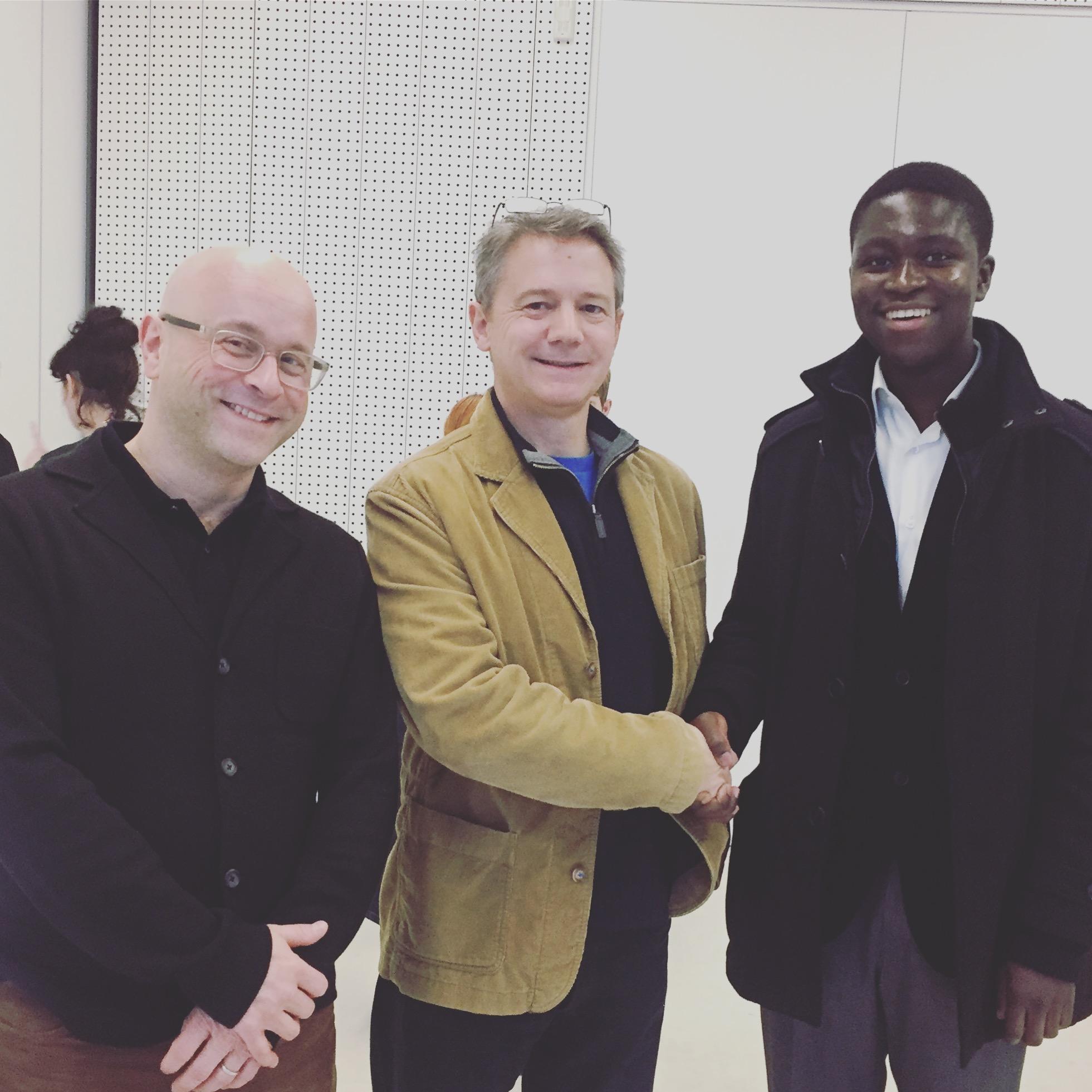 Left to right: artist and Platform mentor Jonathan Parsons, Tim Meacham, Lecturer in Fine Art, University of Kent and Daniel's university tutor, and Platform Graduate Award 2016 winner, Daniel Owusu.
