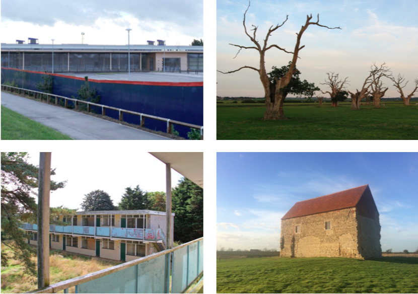 Clockwise from top left: abandoned Tesco store, Cambridgeshire; Dead oak trees in Mundon, Essex. © Rwenland. 2010; Chapel of St Peter-On-The-Wall, Bradwell-on-Sea; Pontins Holiday Park, Norfolk