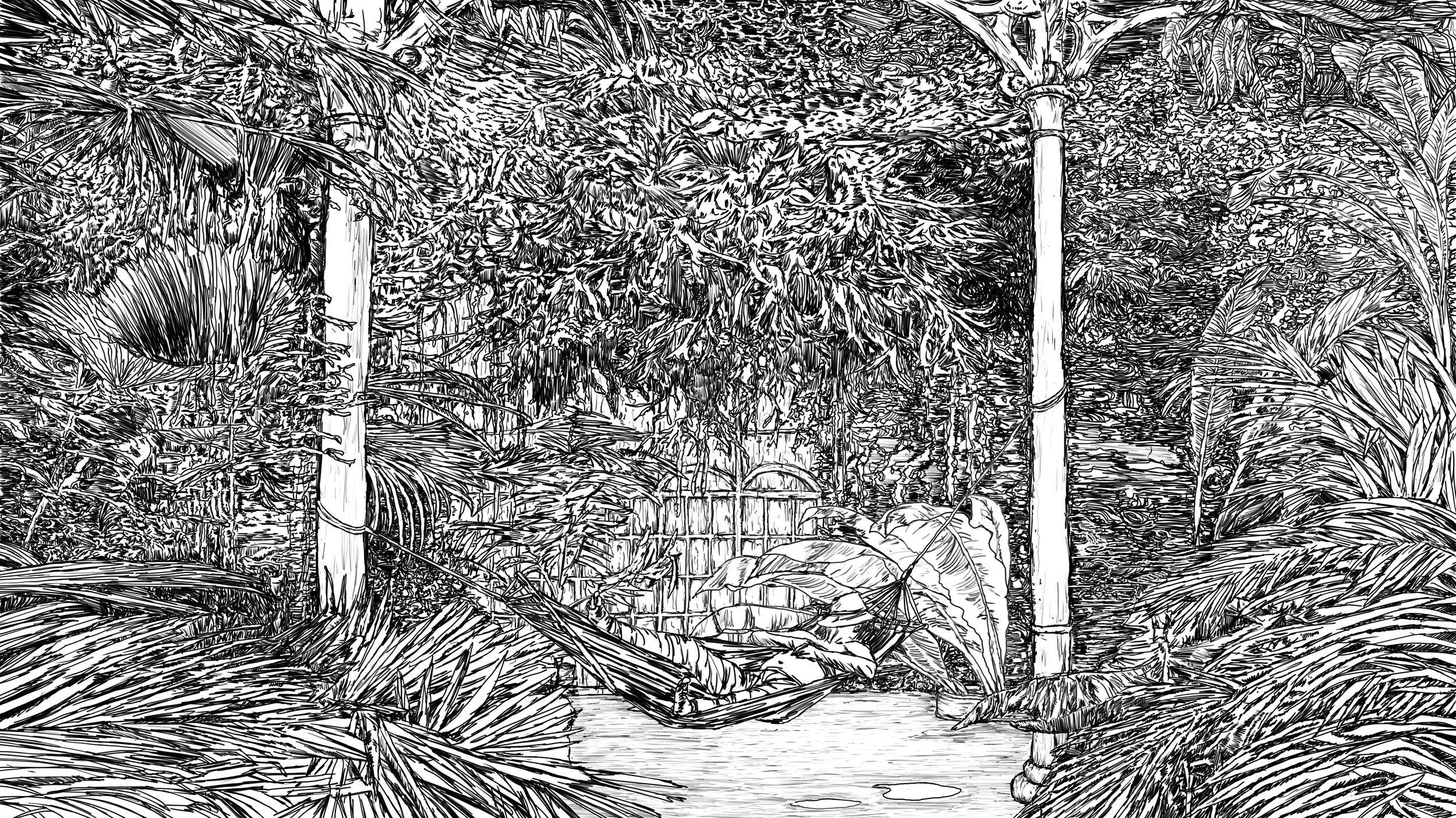 Fence/Hammock (2017), animation still, Andrew McDonald. Courtesy Castlefield Gallery.