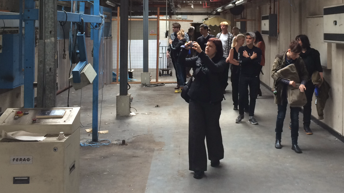 Artists explore the Coventry Evening Telegraph Building.