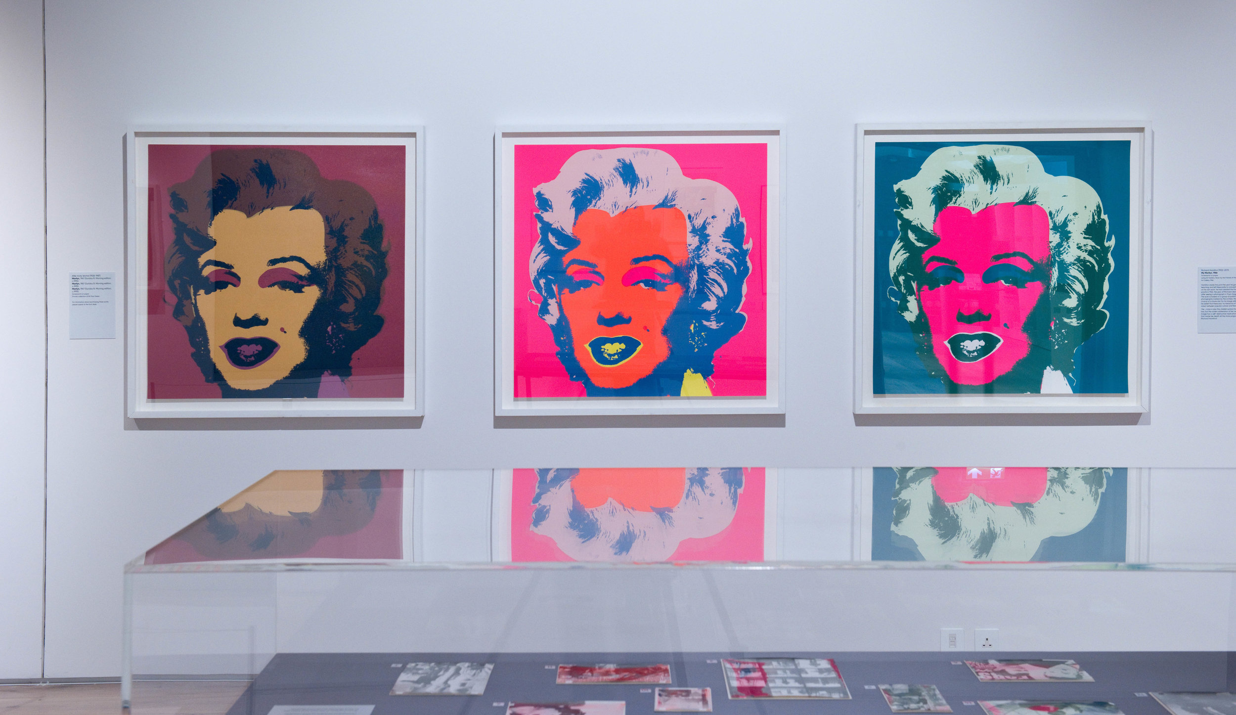 Andy Warhol, Marilyn (Sunday B editions). Pioneers of Pop. Hatton Gallery, Newcastle University. 7 October 2017 - 20 January 2018. Installation view. © Hatton Gallery. Photo: Colin Davison.