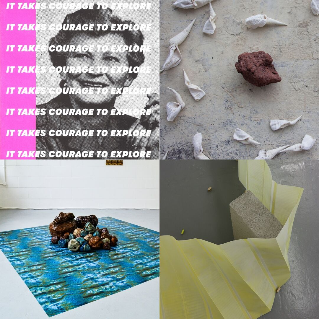 Platform2019IG - (left to right, top to bottom):  It Takes Courage to Explore , Sasha Damjanovic, 2019;  B-side, shift,  Grace Robertson, installation detail, 2019;  Hoard, Lana Fotheringham, installation view at University of Hertfordshire Degree Show, 2019; and  Radiator,  Sara Jackson, installation detail at UCA Canterbury Degree Show, 2019.