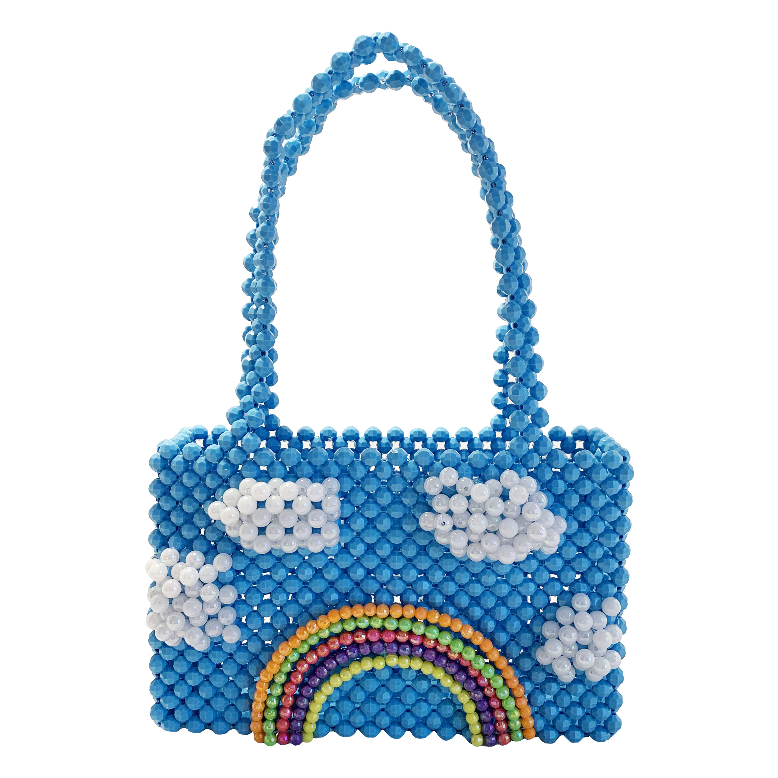 Blue Skies Bag - $325It's that glorious rainbow again, hey girl!Bouncy pearl clouds hath arrived and are joined by their good friend, Rainbow! It's basically the coolest party in town.released in very limited quantity, sign up below to be notified FIRST!