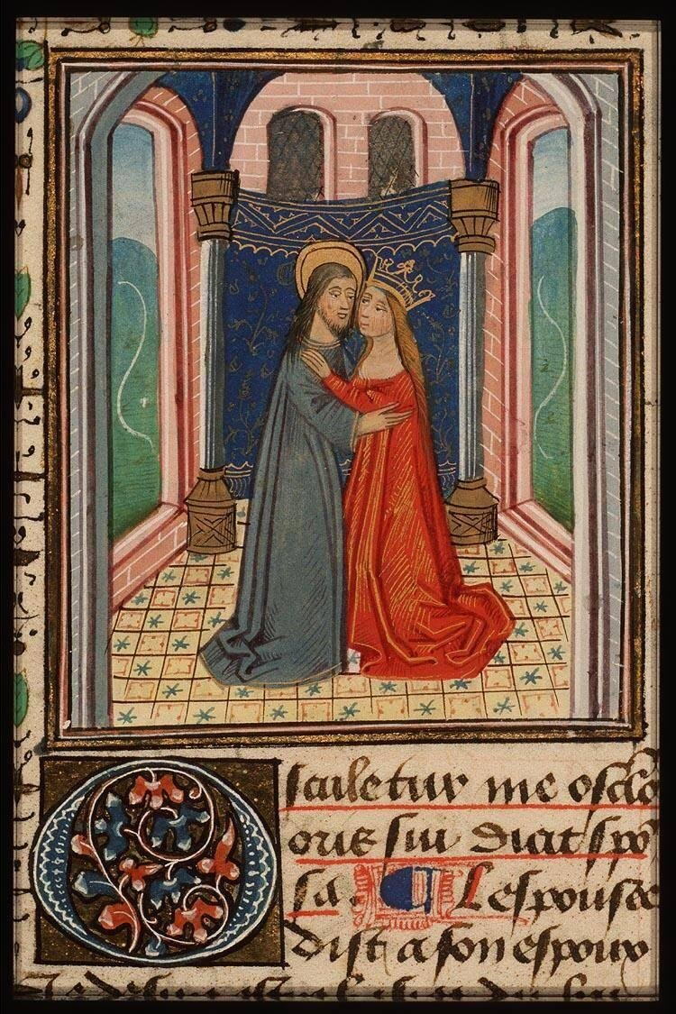 Song of Songs  1:1, Bible moralisée (76 E7, f. 122r): c. 1371 - 1372,  National Library of the Netherlands, The Hague