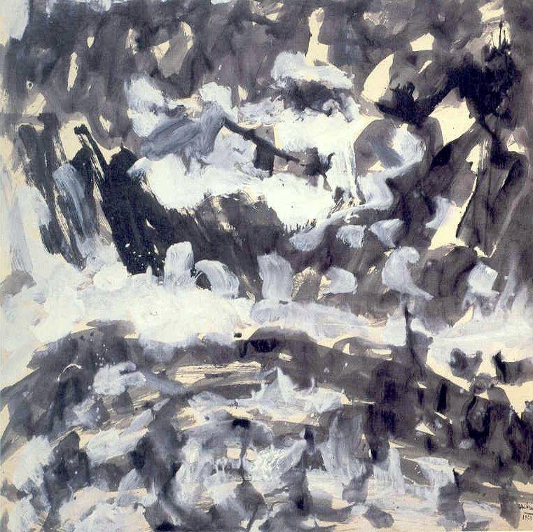 """senza titolo, dalla serie """"I diluvi"""", 1950, tempera su carta intelata, cm 151,5 x 150,5  untitled, from the series """"I diluvi"""", 1950, tempera on canvassed paper, cm 151,5 x 150,5"""