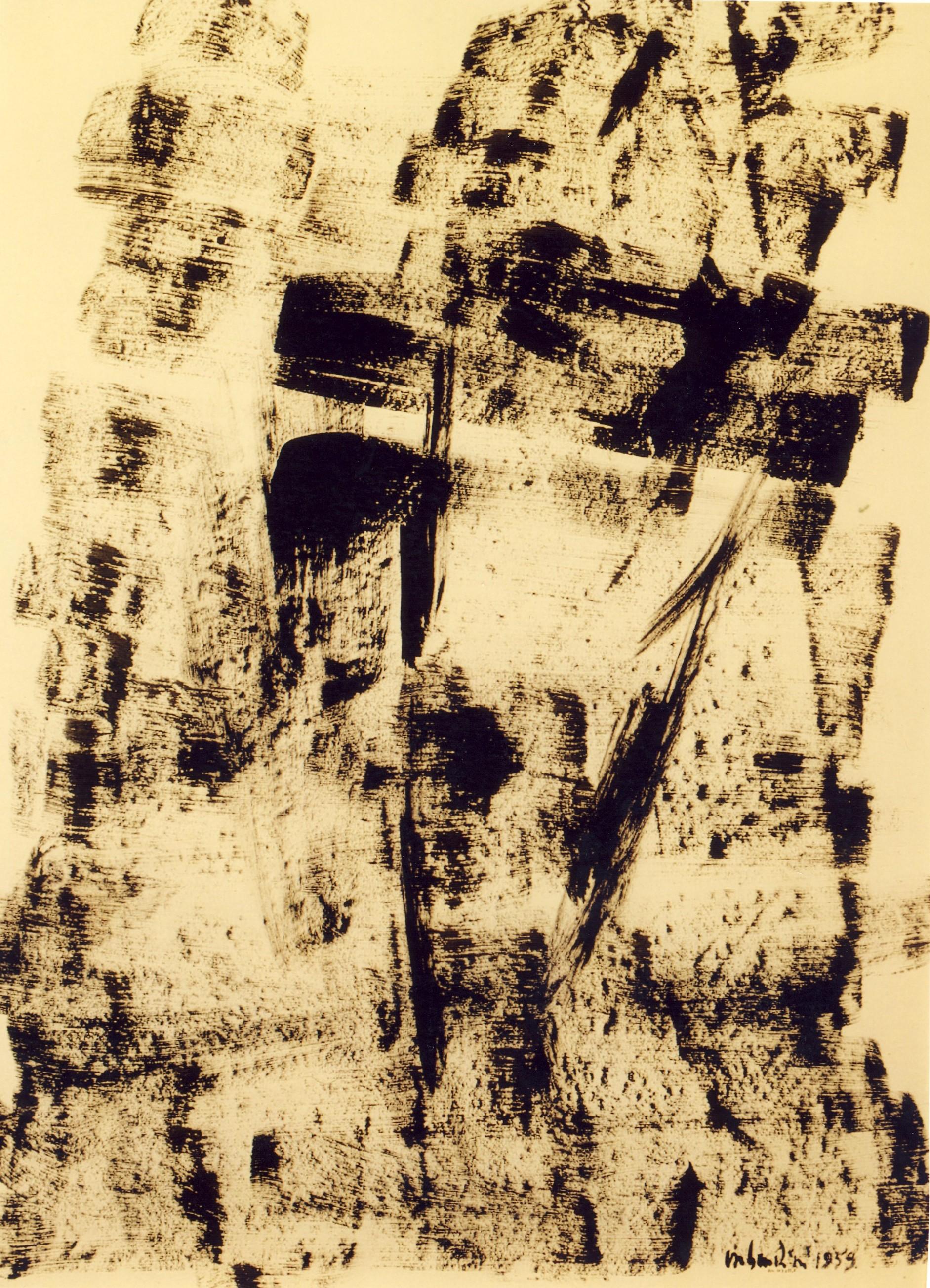 senza titolo, 1959, tempera acrilica su carta intelata, cm 102 x 75  untitled, 1959, acrylic tempera on canvassed paper, cm 102 x 75