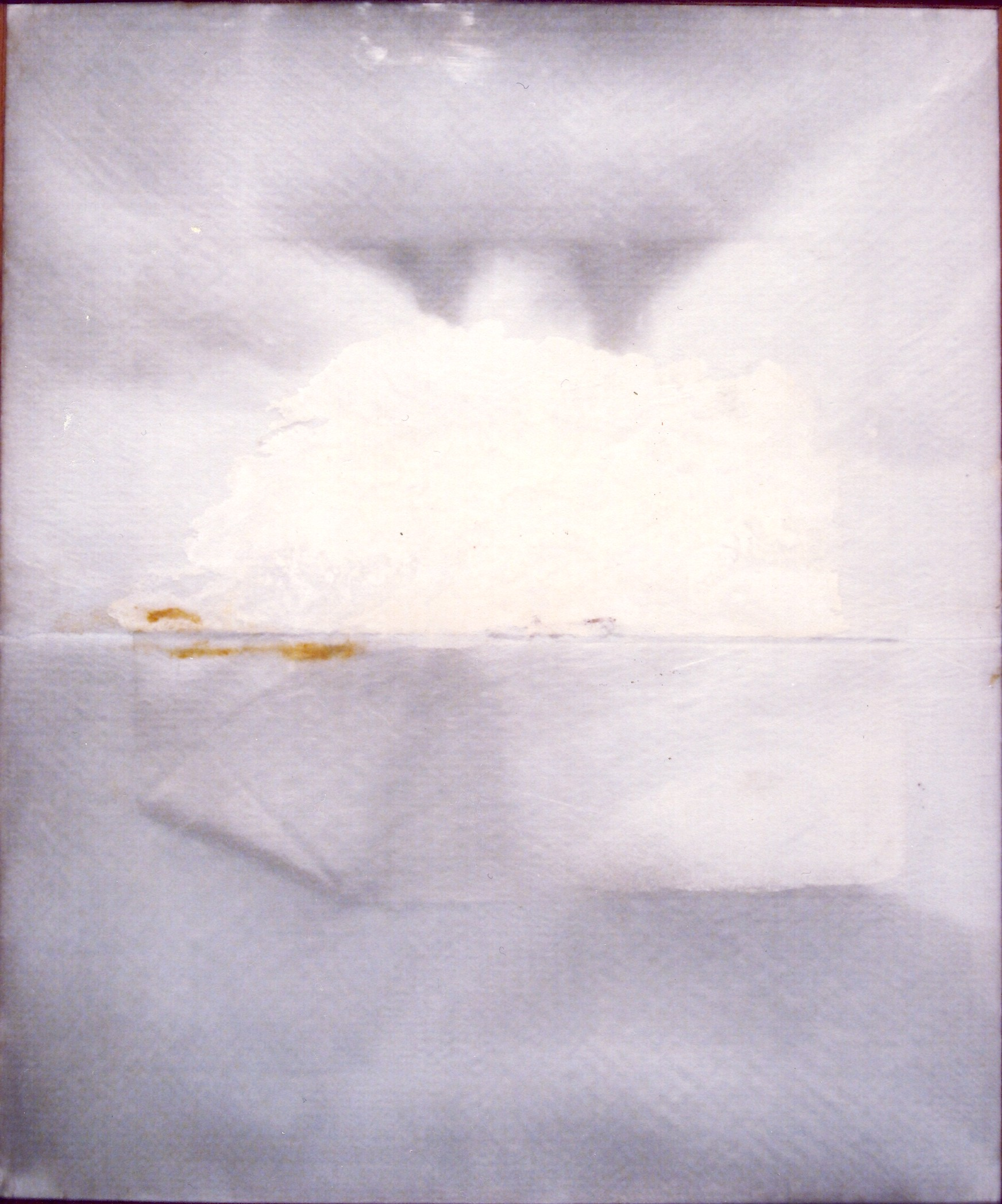 Grande bianco, 1973, lana di vetro e colla su tela, cm 120 x 100    Grande bianco, 1973, glass wool and glue on canvas, cm 120 x 100