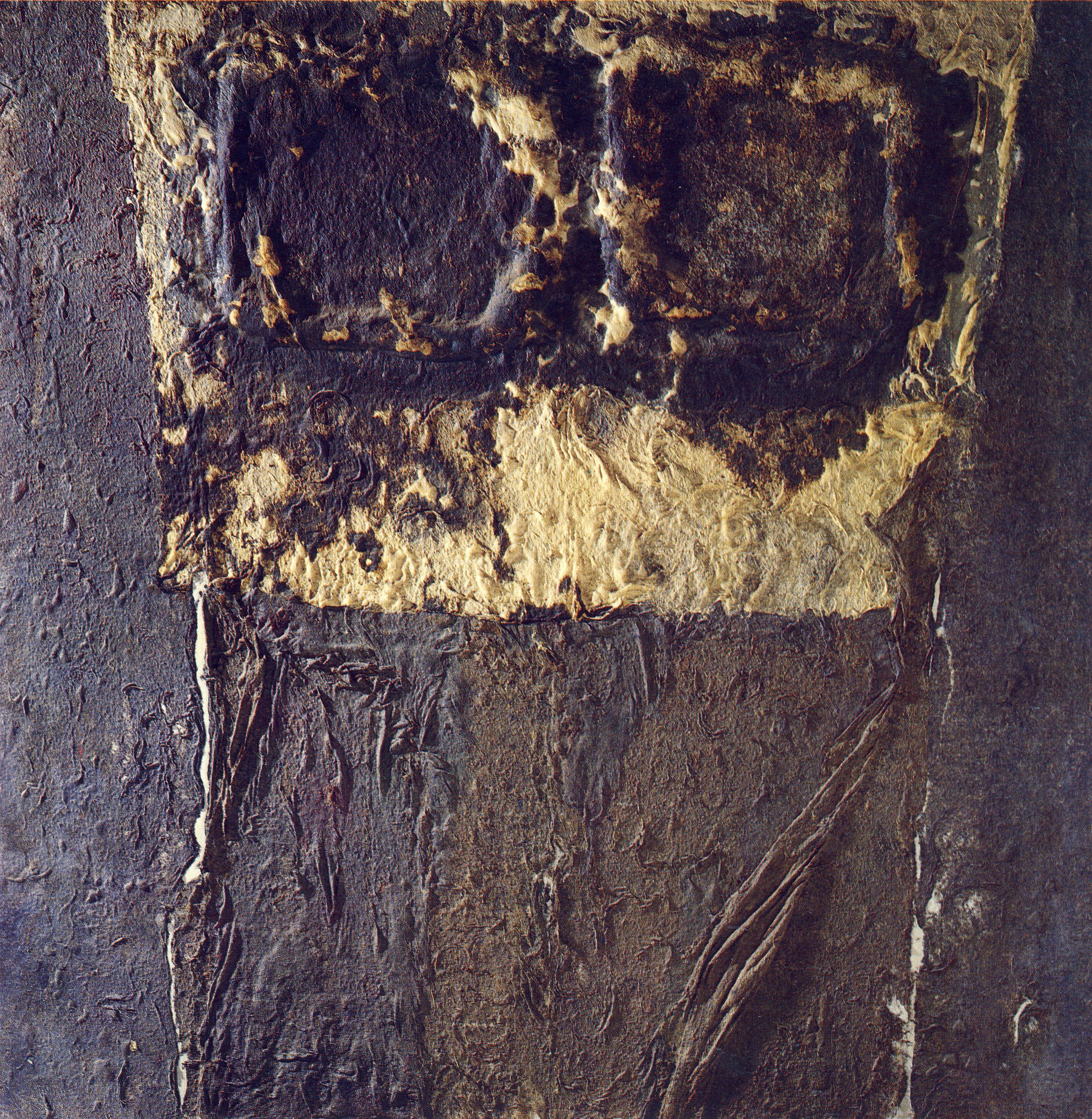 Notte di quiete, 1971, polimaterico su tela, cm 150 x 150   Notte di quiete, 1971, mixed media on canvas, cm 150 x 150