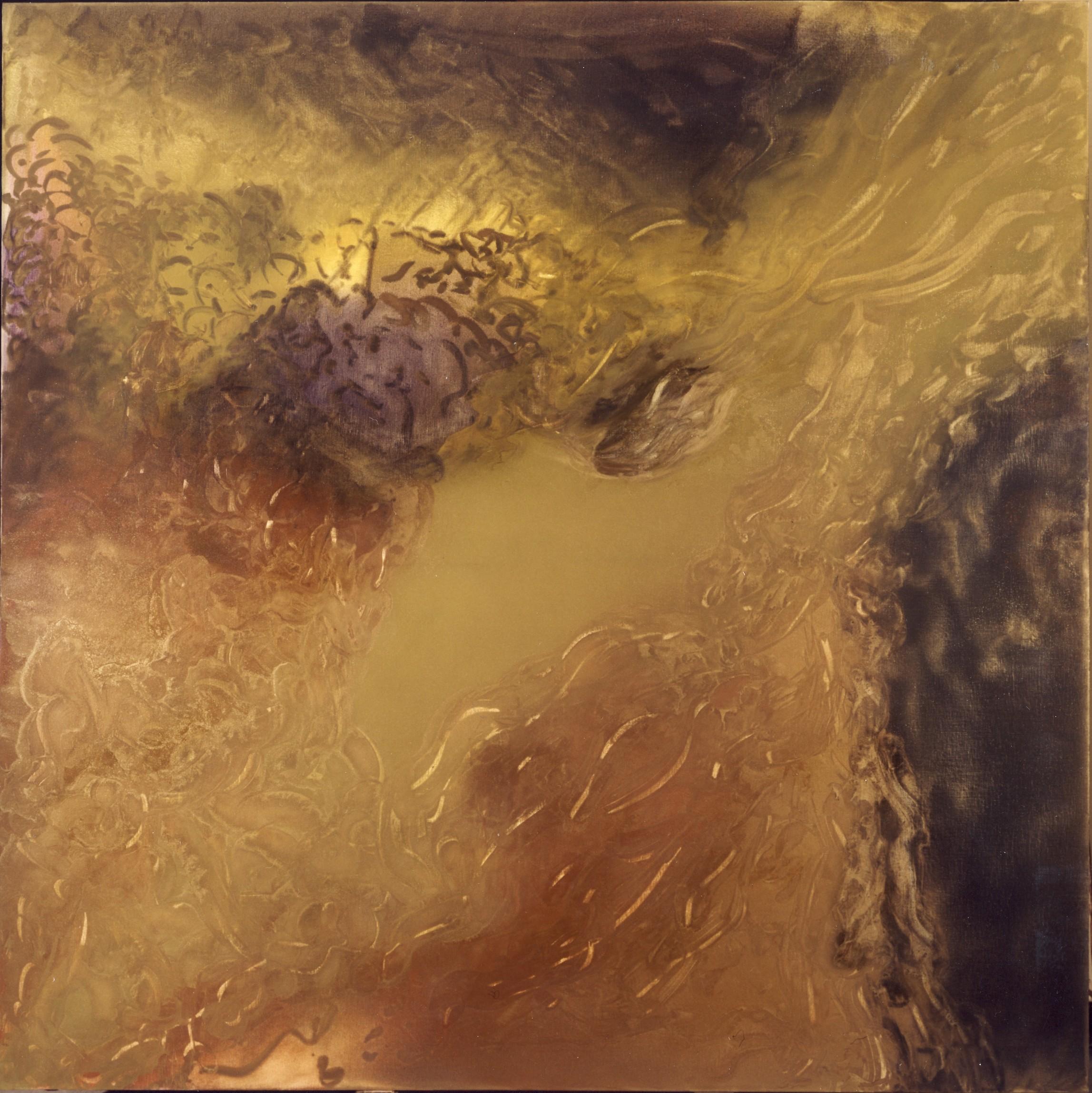 La ballata dei dieci cieli - primo elemento, 1983, olio e polveri d'oro su tela,cm 190 x 190  La ballata dei dieci cieli - primo elemento,1983, oil and gold dust on canvas,cm 190 x 190