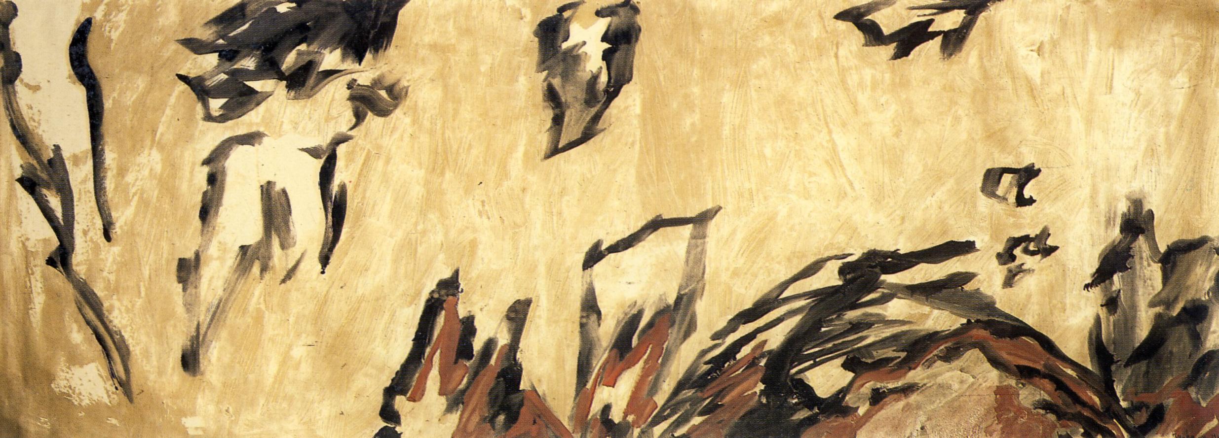 """senza titolo, dalla serie """"Tempo come creazione"""", 1988, olio su carta intelata, cm 150 x 410  untitled, from the series """"Tempo come creazione"""", 1988, oil on canvassed paper, cm 150 x 410"""