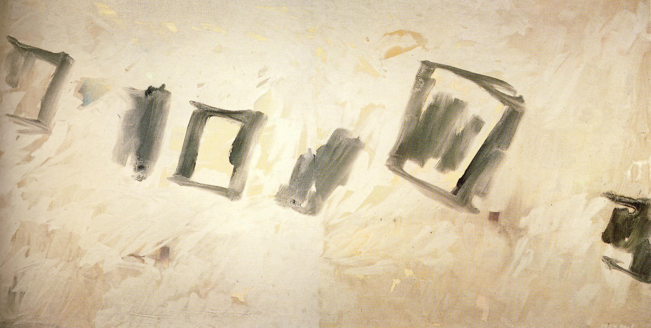 """senza titolo, dalla serie """"Tempo come creazione"""",1989, olio e smalti su tela, cm 190 x 380  untitled, from the series """"Tempo come creazione"""",1989,oil and vitreous enamel on canvas, cm 190 x 380"""