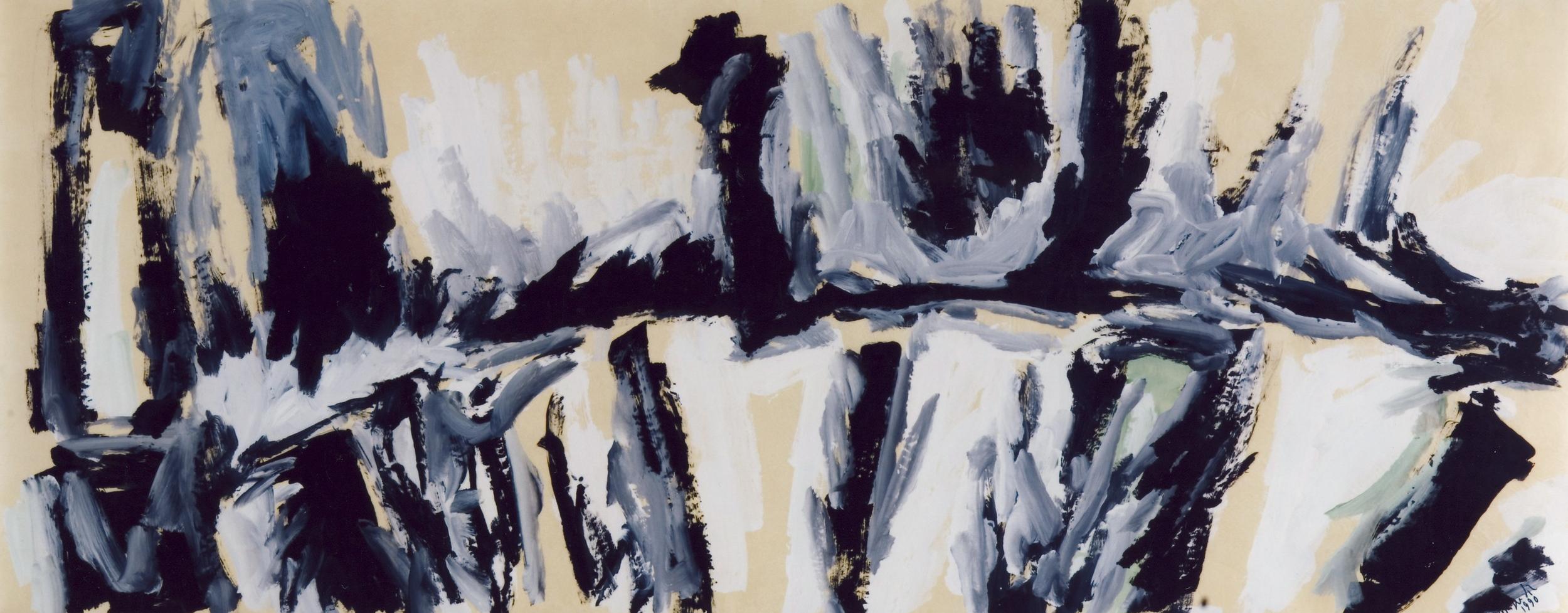 senza titolo, 1990, tempera su carta intelata, cm 150 x 375  untitled, 1990, tempera on canvassed paper, cm 150 x 375