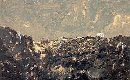 """senza titolo, dalla serie """"Come un suono dal suono del mondo"""", 1997, tempera acrilica su tela, cm 200 x 320  untitled, from the series """"Come un suono dal suono del mondo"""", 1997, acrylic tempera on canvas, cm 200 x 320"""