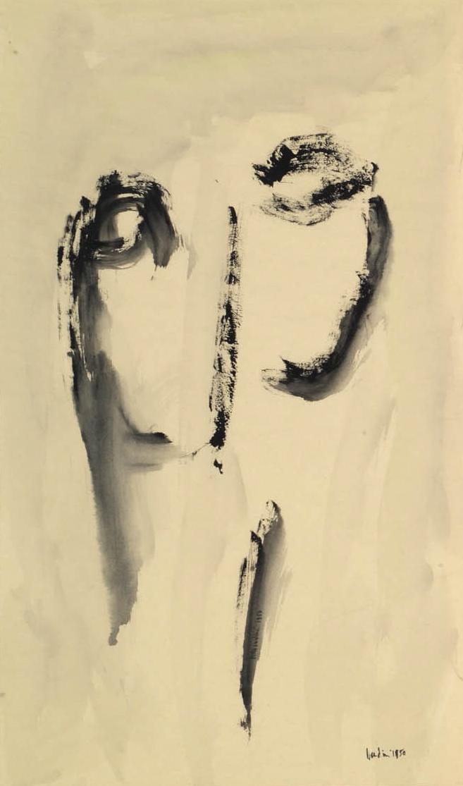 Testa, 1950, tempera su carta intelata, cm 80.5 x 48,5  Testa, 1950, tempera on canvassed paper, cm 80.5 x 48,5