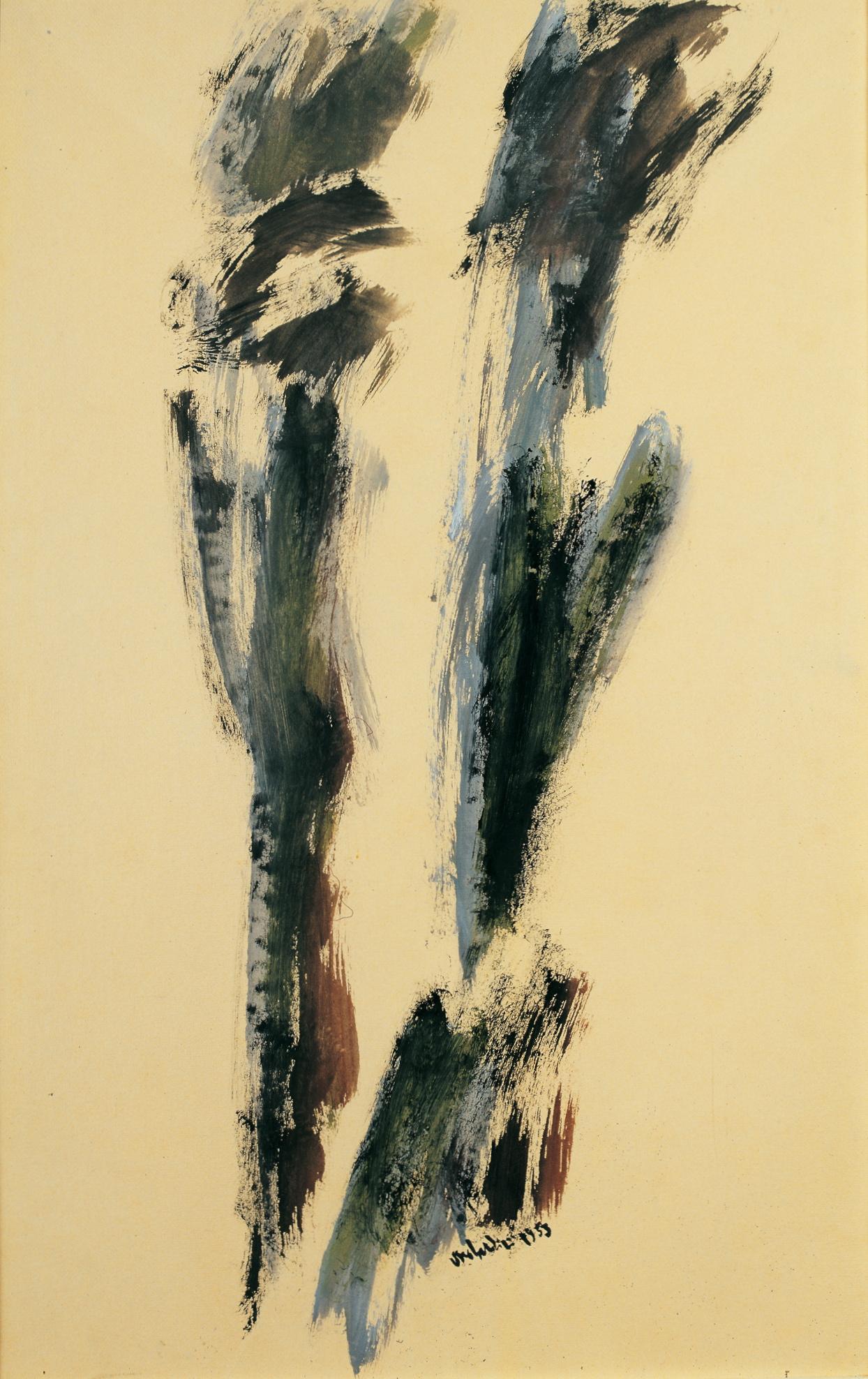 """senza titolo, dalla serie """"I segni segreti"""", 1953, tempera su carta intelata, cm 76 x 49,5  untitled, from the series """"I segni segreti"""", 1953, tempera on canvassed paper, cm 76 x 49,5"""