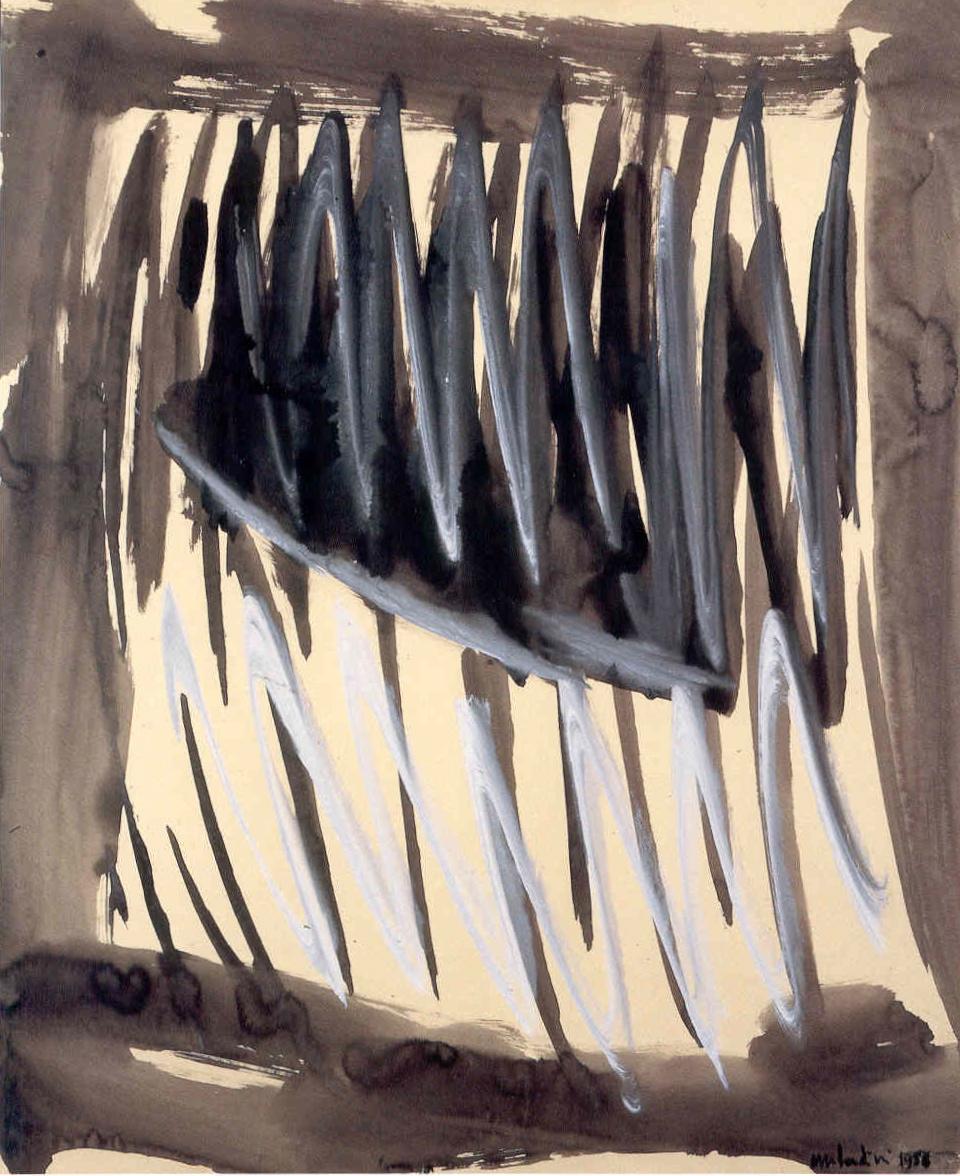 """senza titolo, dalla serie """"I segni segreti"""", 1956, tempera sintetica su carta intelata, cm 90.5 x 75  untitled, from the series """"I segni segreti"""", 1956, synthetic tempera on canvassed paper, cm 90.5 x 75"""
