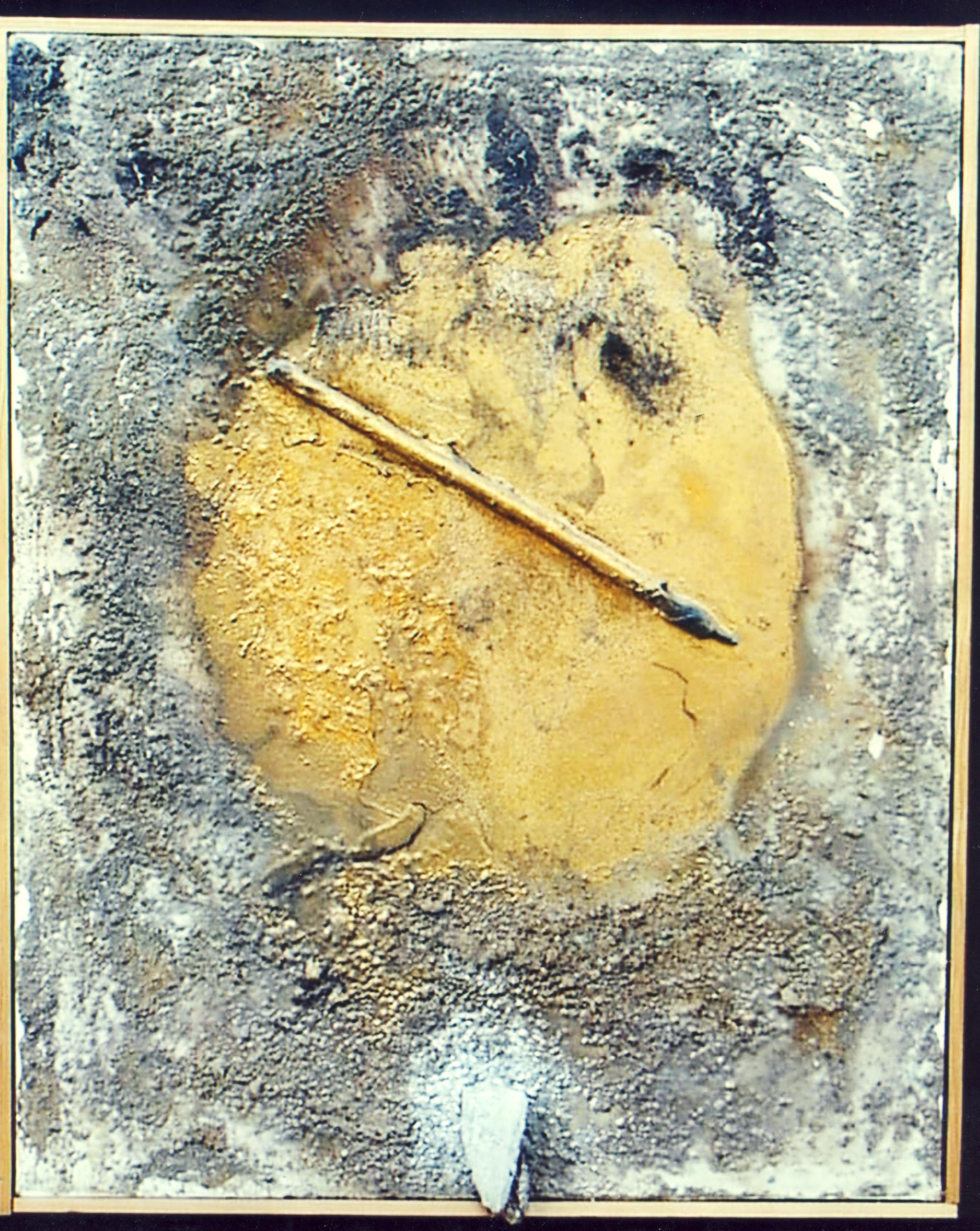 La ruota dell'ignoranza, 1969, polimaterico su tela, cm 80 x 65  La ruota dell'ignoranza, 1969, mixed media on canvas, cm 80 x 65