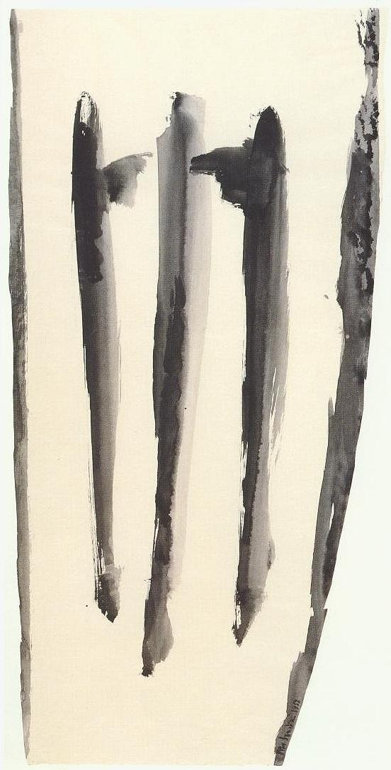 """senza titolo, dalla serie """"I segni segreti"""", 1952, tempera su carta intelata , cm 78,5 x 39,5  untitled, from the series """"I segni segreti"""", 1952, tempera on canvassed paper, cm 78,5 x 39,5"""