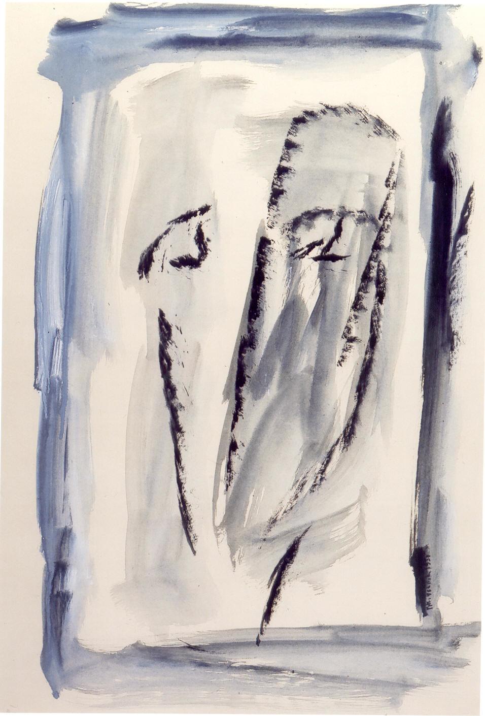 Autoritratto, 1950, tempera su carta, cm 76 x 53  Autoritratto, 1950, tempera on paper, cm 76 x 53
