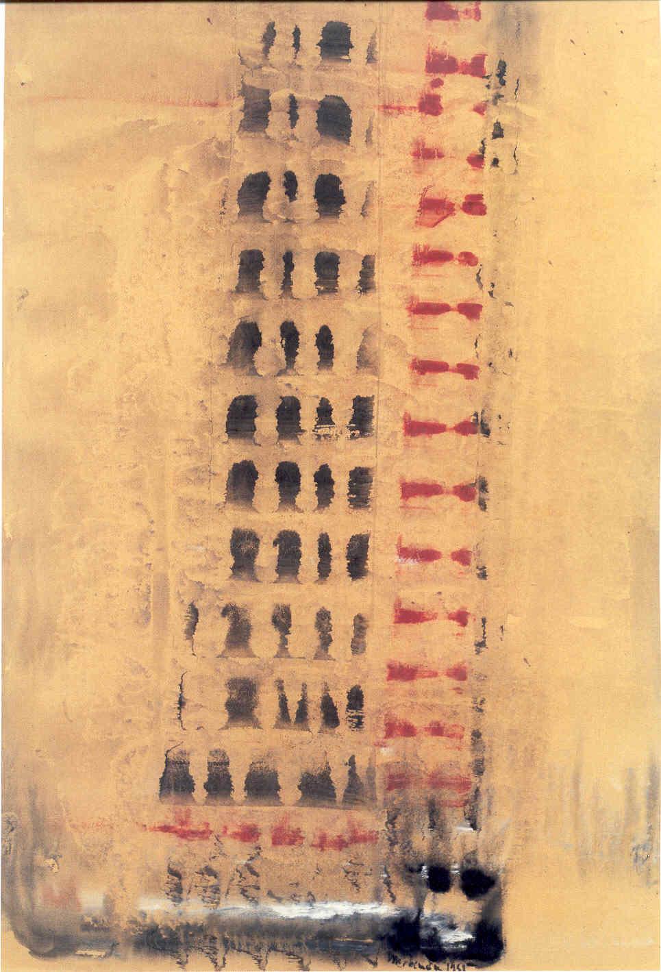 Senza Titolo, 1951, tempera sintetica su carta intelata, cm 75,5 x 51,5  Untitled, 1951, synthetic tempera on canvassed paper, cm 75,5 x 51,5