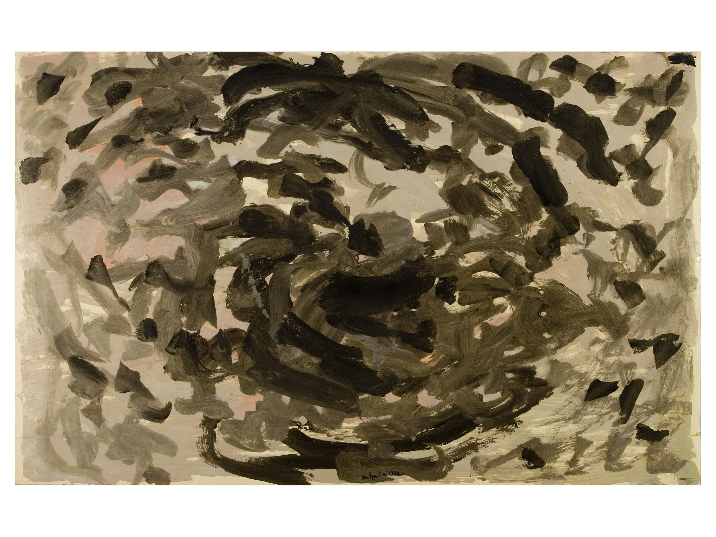 senza titolo, 1980, tempera acrilica e polveri d'oro su carta intelata, cm 150 x 237  untitled, 1980, acrylic tempera and gold dust on canvassed paper, cm 150 x 237