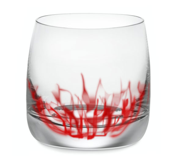 Photoshop mock up of the Flames captured in the base of the glass